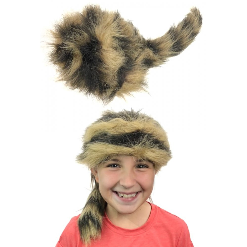 Coonskin Hat: Coonskin Cap Striped : Davy Crockett : Western Hat : Youth