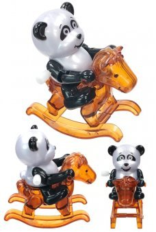 Panda Bear on Pony Wind Up Rocking Rosalee