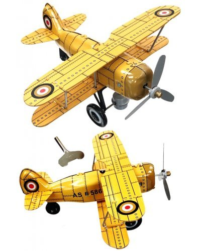 Yellow Curtis Biplane Tin Toy Airplane
