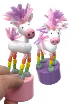 Unicorn Push Puppet Wooden Thumb Toy