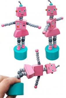 Paulina Pink Robot Thumb Puppet Poses