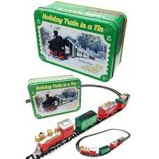 Holiday Train Set in a Tin Box Santa Set