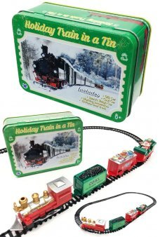 Holiday Train Set in a Tin Box Santa Set