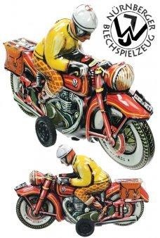 Motorcyclist Orange Josef Tin Toy Cycle Germany
