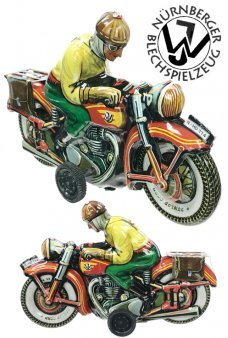 Motorcyclist Yellow Patrick Tin Toy Cycle Germany