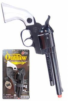 Outlaw Black Replica Revolver 12 Shot Ring Cap Gun