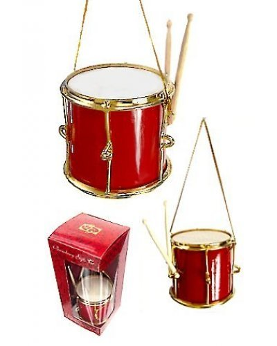 Red and Gold Drum Ornament