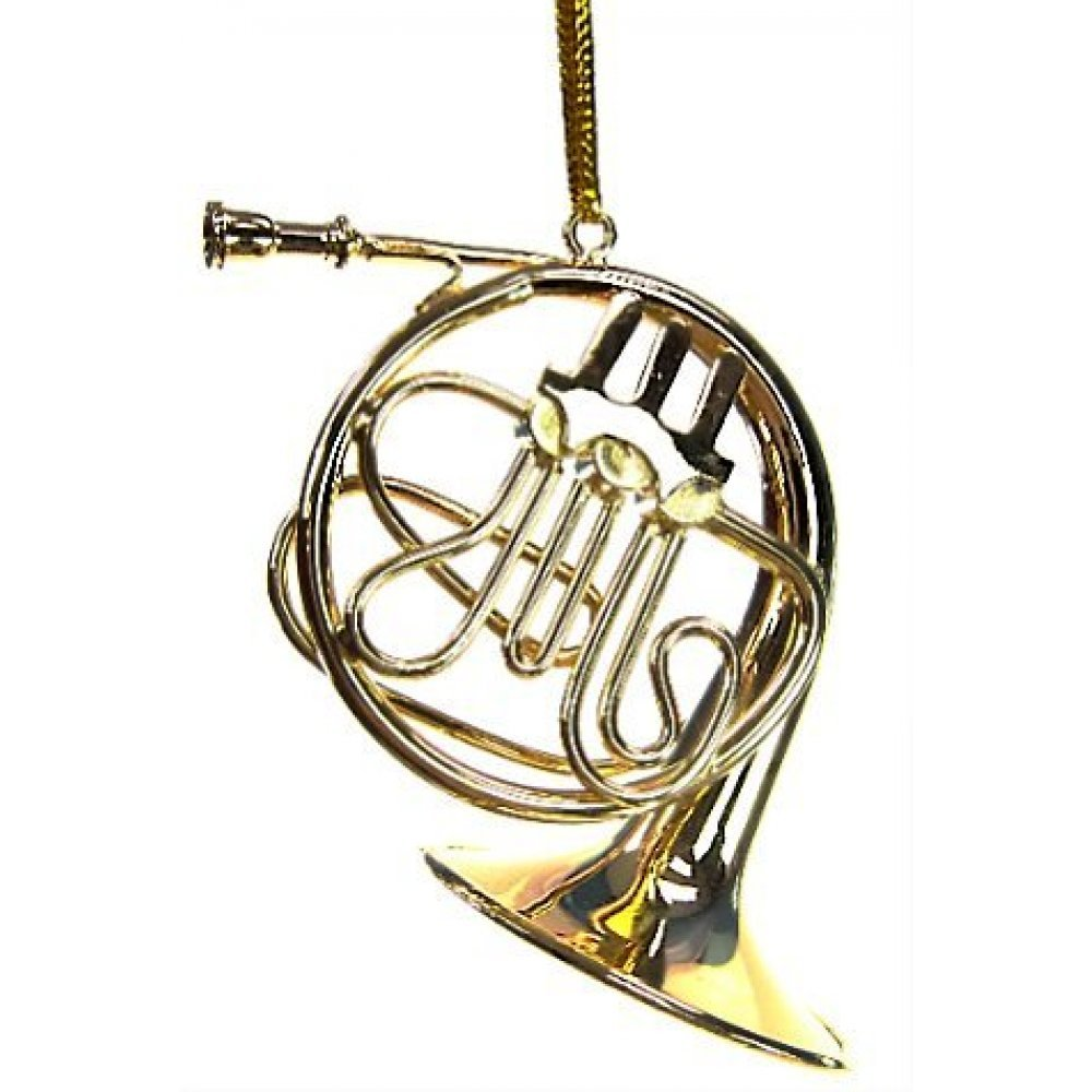GOLD FRENCH HORN EUROPEAN BLOWN GLASS CHRISTMAS ORNAMENT MUSICIAN MUSIC GIFT