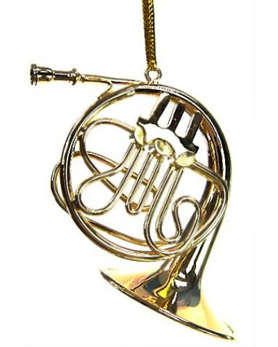 Gold French Horn Metal Ornament