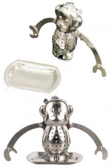 Monkey Tea Infuser Shiny Silver Steel