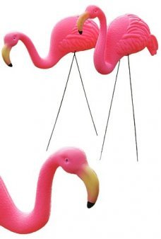 Pink Flamingo Set of 2 Plastic Yard Art