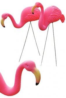 Pink Flamingo Set of 2 Plastic Yard Art