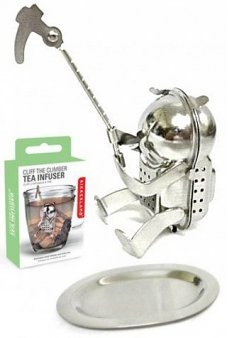 Cliff the Climber Tea Infuser Silver Steel
