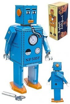 Lilliput Robot Bright Blue Rare Tin Toy