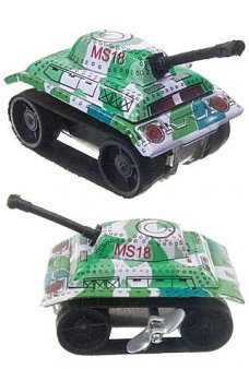 Tiny Tank Tin Toy Green Army Windup