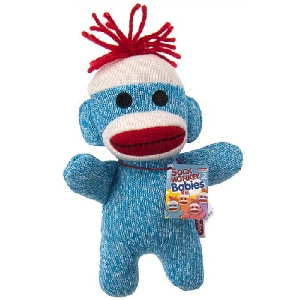 Sock Monkey Baby Blue And White Huggable Plush Animal Adorable