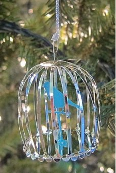 Bird Cage Silver Christmas Ornament