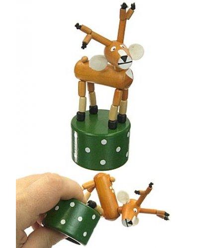 Reindeer Santas Wood Thumb Puppet