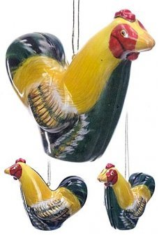 Yellow Rooster Tin Ornament Colorful