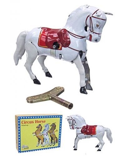 White Circus Horse Tin Toy Performing