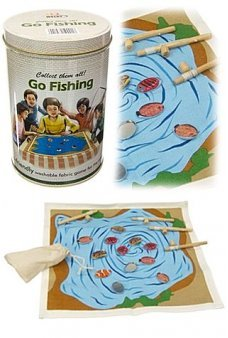 Magnetic Fishing Game Fabric in Tin