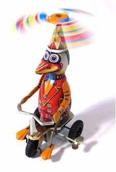Duck on Bike Tin Toy Windup