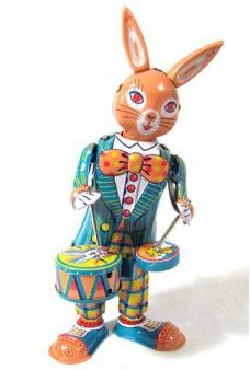 Tin Toy Drumming Happy Bunny Wind Up