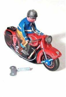 Motorbike Red Tin Toy Retro Rider Windup