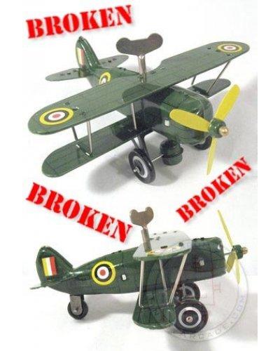 Green Curtis Biplane ***Broken Tin Toy