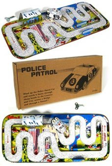 Police Car Tin Toy Playset Japan 1950