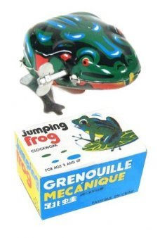 Jumping Frog Green Windup Tin Toy