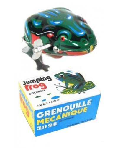 Jumping Frog Green Windup Tin Toy