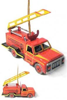 Fire Engine Tin Christmas Ornament