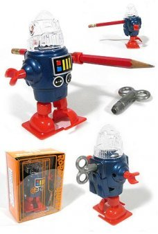 Robby Robot Blue Pencil Sharpener Windup