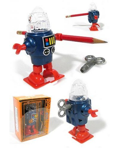 Robby Robot Blue Pencil Sharpener Windup