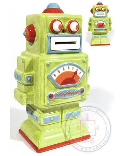 Coin Eating Robot Bank Green