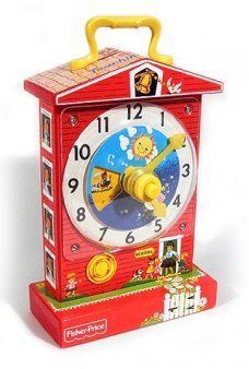 Music Box Teaching Clock Red Schoolhouse