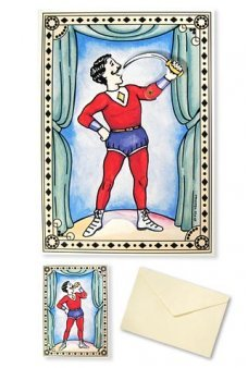 Sword Eating Magician Antique 3D Card