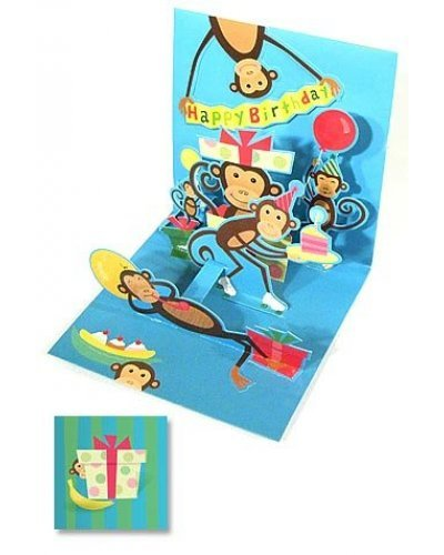 Monkey Birthday Party 3D Pop Up Card