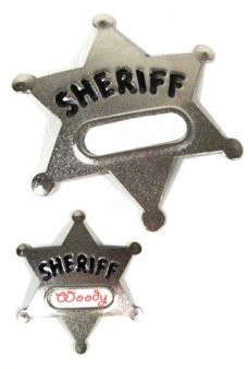 Silver Sheriff Badge with Name Tag Metal