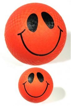 Smiley Face Red Rubber Ball 9 inch