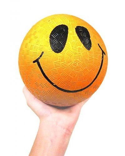 Smiley Face Orange Rubber Ball 5 inch