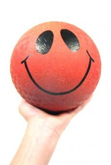 Smiley Face Red Rubber Ball 5 inch