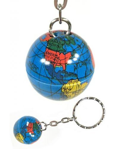 Tin Globe Keychain Silver Key Ring