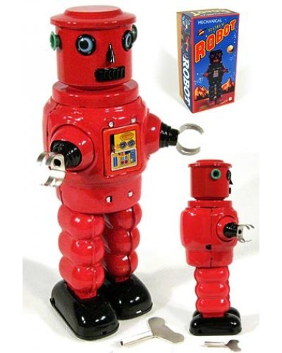 Roby Red Robot Cylinder Head Tin Toy