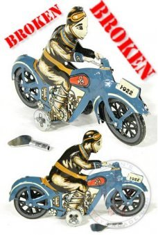 Paya Blue Motorcycle Tin ***Broken