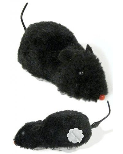 Fuzzy Soft Black Mouse Wind Up