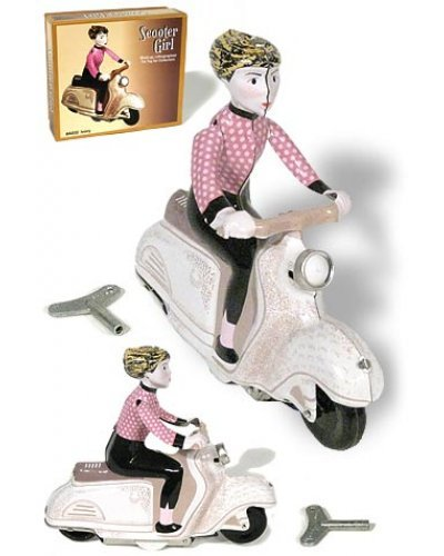 Scooter Girl White and Pink Wind Up