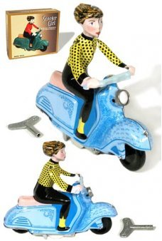 Scooter Girl Blue and Yellow Wind Up