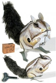 Jumping Squirrel Gray Tin Toy Windup